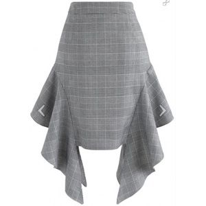 Casual in Check Frilling A-Line Skirt